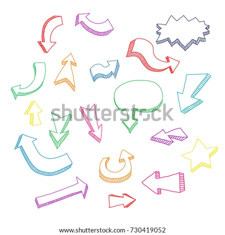 Hand drawn colorful arrow set isolated on a white background. Vector illustration.