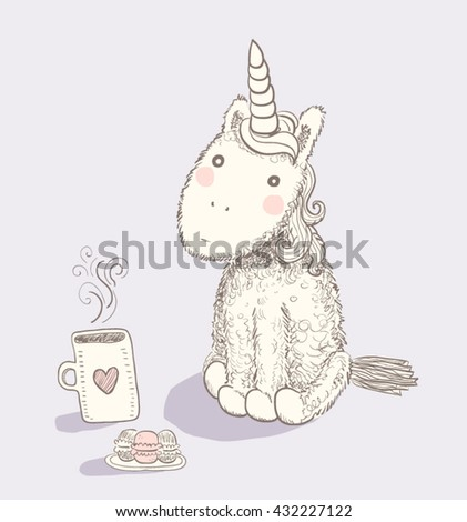 Hand drawn colorful cartoon pretty unicorn with hot tea and macaroons - stock vector