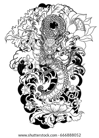 hand drawn colorful dragon tattoo coloring book japanese style - The Tattoo Coloring Book
