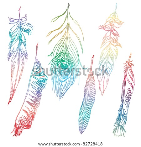 Hand-drawn colorful feather collection - stock vector