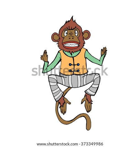 Hand drawn colorful monkey. White isolated. Vector illustration