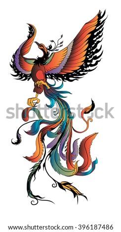hand drawn colorful phoenix tattoo - stock vector