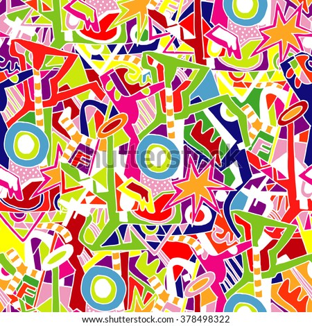 Hand drawn colorful seamless pattern with graffiti vivid elements. Design for textile, wallpaper, postcards, books .