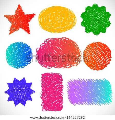 Hand drawn colorful set of different shapes - vector illustration. - stock vector