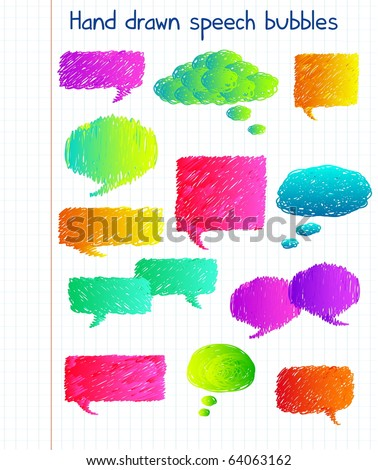 Hand drawn colorful speech bubbles - stock vector