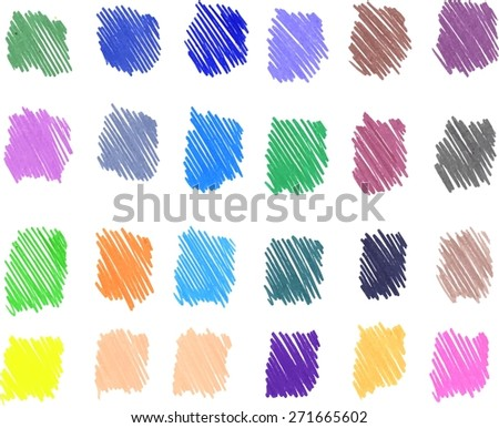 Hand drawn colorful textures. Freehand drawing elements. Pencil sketch drawing technique. Vector illustration. - stock vector