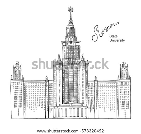 Hand Drawn Coloring Book Sketch Architecture Illustration Of Moscow State University Russia With Lettering Vector