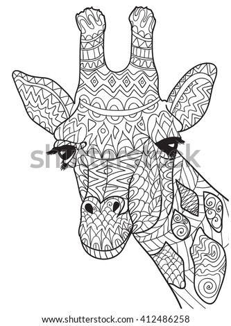 Hand Drawn Coloring Pages With Giraffe Zentangle Illustration For Adult Anti Stress Books Or