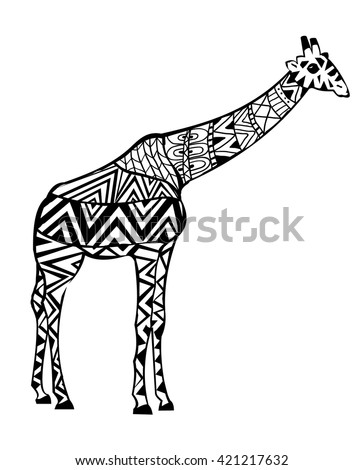hand drawn coloring pages giraffe zentangle stock vector 421217632