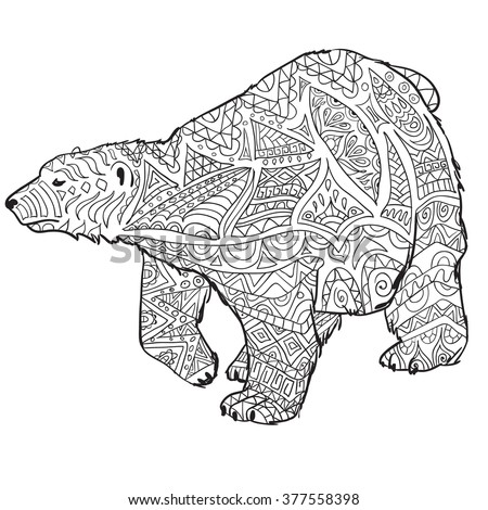 Hand Drawn Coloring Pages With Polar Bear , Zentangle Illustration For  Adult Anti Stress Coloring Books