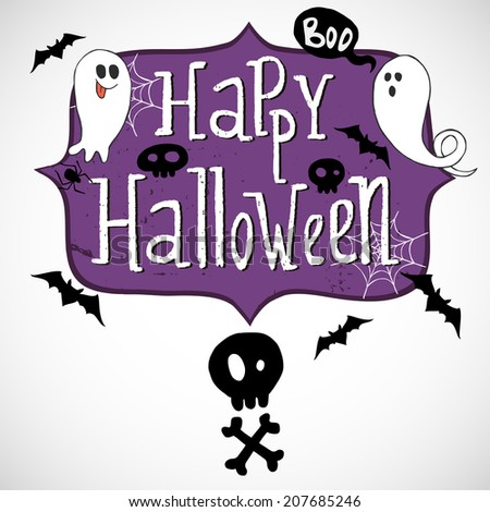 Hand drawn comic frame with Happy Halloween lettering, skull with crossed bones, doodle ghosts, bats and spider web on white background. - stock vector