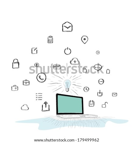 Hand-drawn, computer doodle - stock vector