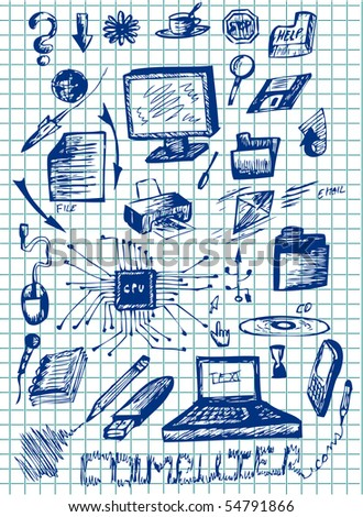 hand drawn computer icons - stock vector
