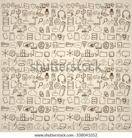 Hand drawn computer icons set. - stock vector
