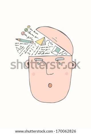 Hand drawn concept - knowledge - stock vector