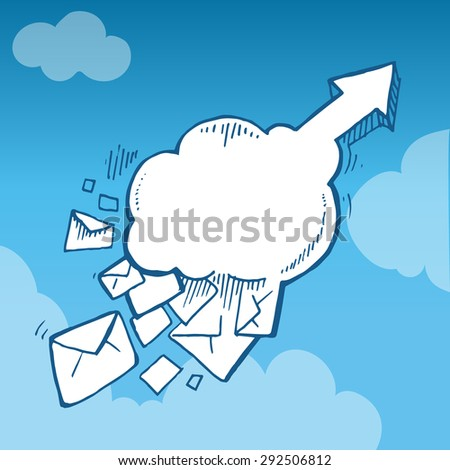 hand drawn Concept picture with flying of big letters in the sky to top direction. - stock vector