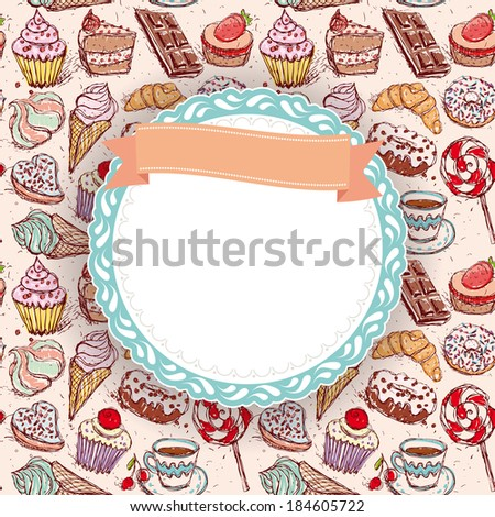 Hand drawn confectionery seamless pattern croissant Cupcake candy marshmallow ice cream cake donut and coffee. doodle frame, ribbon. vector - stock vector