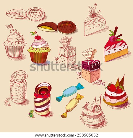 hand drawn confections dessert pastry bakery products cupcake cookie muffin.