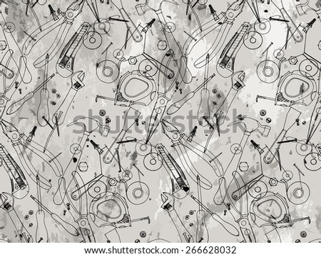 Hand drawn construction tools on craft paper. Cutter, screwdriver, pliers, adjustable wrench, bolt, screw, nut, scotch tape, measuring tape, hammer, dowel nail. Vector doodle  pattern - stock vector