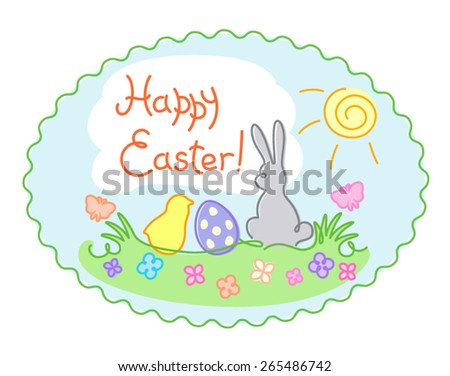hand-drawn contour pastel Easter greeting illustration, Happy Easter card, vector illustration - stock vector