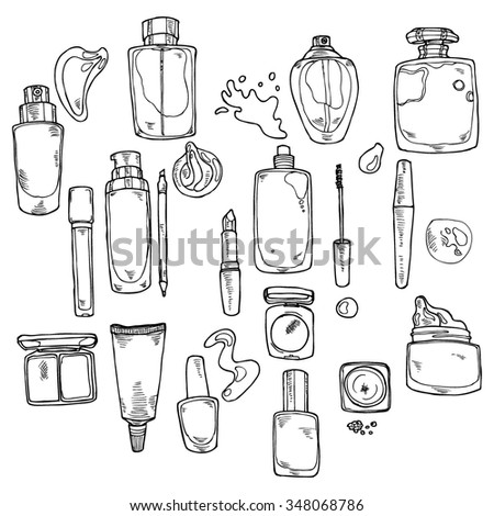 Hand-drawn cosmetics collection in vector - stock vector