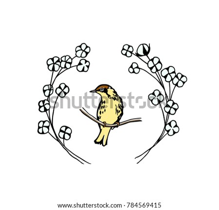 Hand Drawn Cotton Flowers Wreath Small Stock Vector 784569415 ...