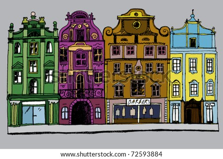 Hand Drawn Cozy Street Colorful - stock vector