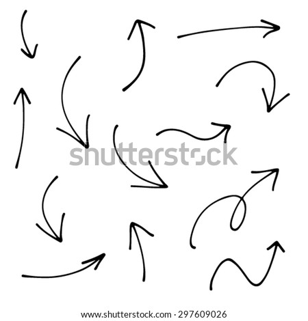Hand drawn creative arrows. Ink and paper, black and white. - stock vector