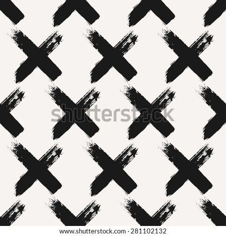 Hand drawn cross shapes seamless pattern. Monochrome dry brush strokes paint texture. - stock vector