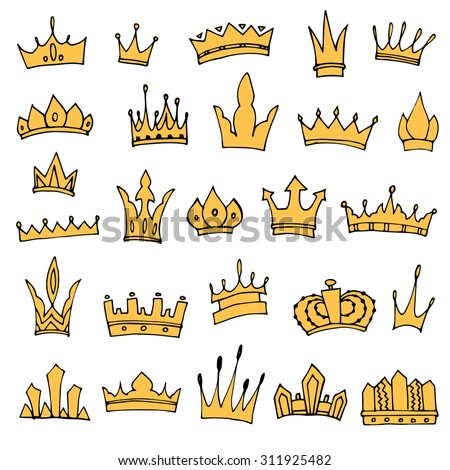 Hand-drawn crowns collection. Ink sketch. Vector design elements.