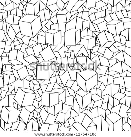 Hand drawn cubic seamless pattern - stock vector
