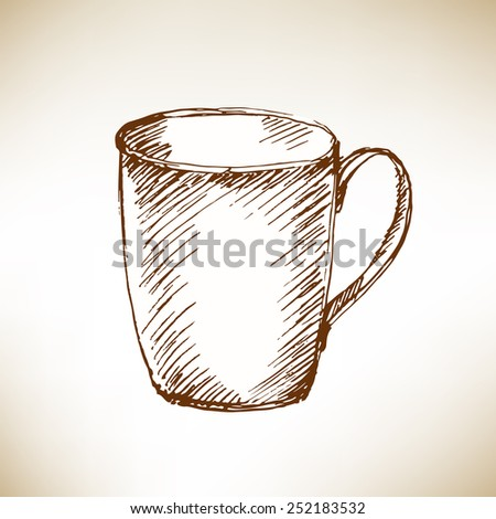 Hand drawn cup on brown paper. Vector illustration. - stock vector