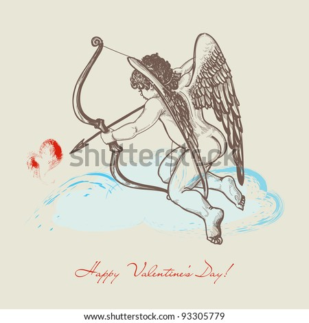 Hand drawn Cupid with arch on a cloud vector - stock vector