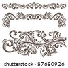 Hand-drawn curly floral elements and letterhead. - stock vector