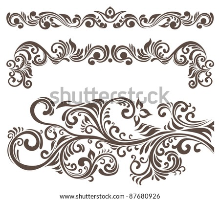 Hand-drawn curly floral elements and letterhead. stock image