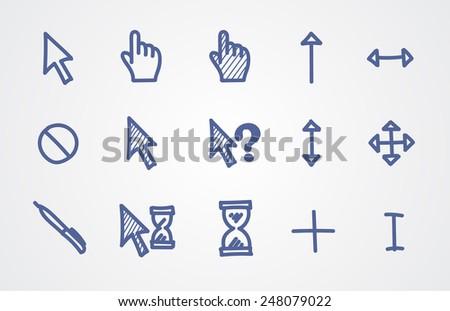 Hand drawn cursors - stock vector
