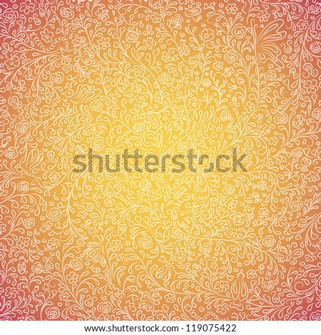 Hand-drawn cute background with flowers, birds and butterflies - stock vector