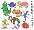 Hand-drawn cute cartoon reptiles and amphibians. Vector illustration. - stock vector