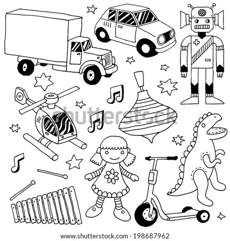 Hand drawn cute doodle toys set 3. Vector illustration. - stock vector