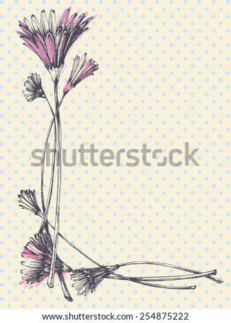 Hand drawn cute floral frame - stock vector