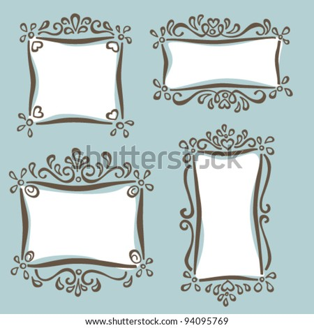 Hand drawn cute frames set - stock vector