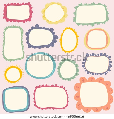 hand drawn cute frames set cartoon style vector elements in pastel colors