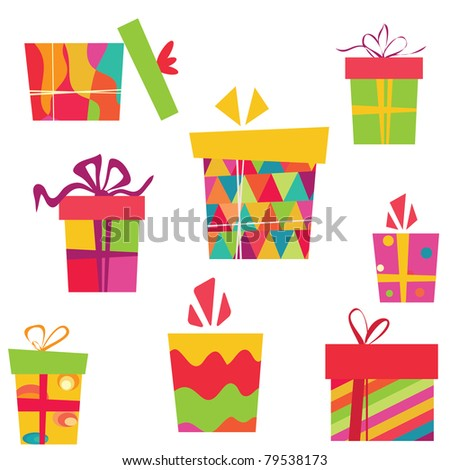 Hand drawn cute gift box vector - stock vector
