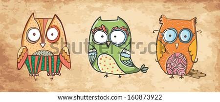 hand-drawn cute owls - stock vector