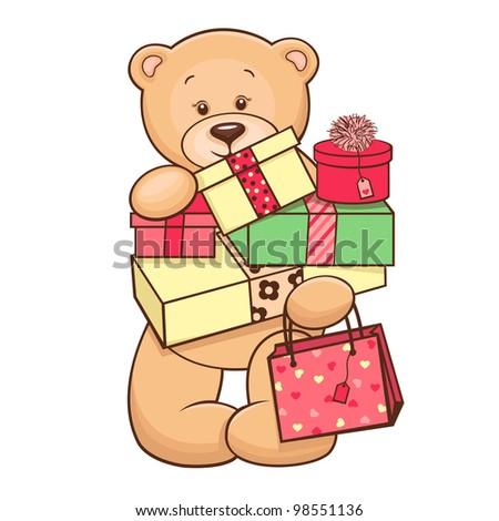 Hand drawn cute Teddy Bear with presents. Vector illustration. - stock vector