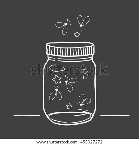 Hand drawn cute vector illustration of a mason jar filled with fireflies, summer, wedding and romance concept illustration - stock vector