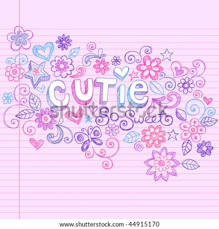 Hand-Drawn Cutie Letting and Flowers Sketchy Notebook Doodles Design Elements on Pink Lined Paper Background- Vector Illustration - stock vector