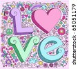 Hand-Drawn 3D LOVE Lettering Psychedelic Groovy Notebook Doodle  Design Elements on Pink Lined Sketchbook Paper Background- Vector Illustration - stock photo