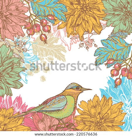 Hand drawn dahlia flowers and bird retro card.  All objects are conveniently grouped  and are easily editable.