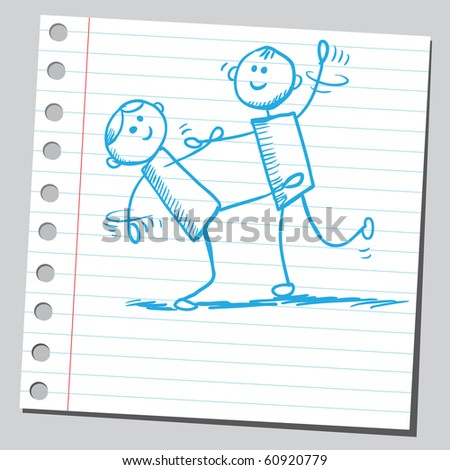 Hand drawn dancers - stock vector